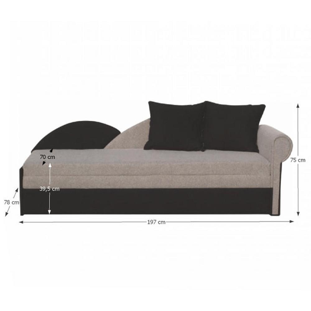 Rozkládací pohovka, šedá / černá, pravá, DIANE, TEMPO KONDELA