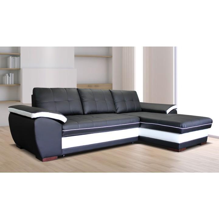 Rohová sedacia súprava, P, rozklad/úložný priestor, eko čierna/eko biela, MARK