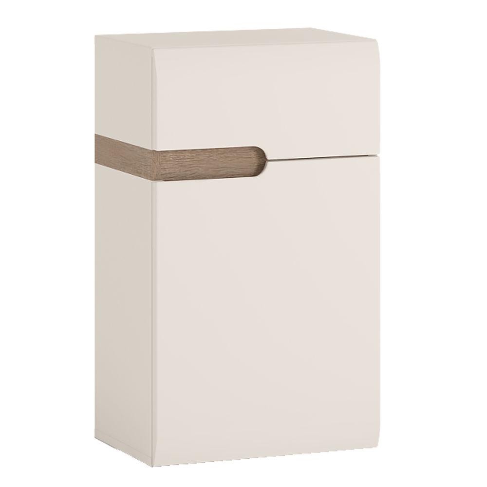 Dolní skříňka 1D1S, bílá extra vysoký lesk HG / dub sonoma truflový, pravá, LYNATET TYP 156
