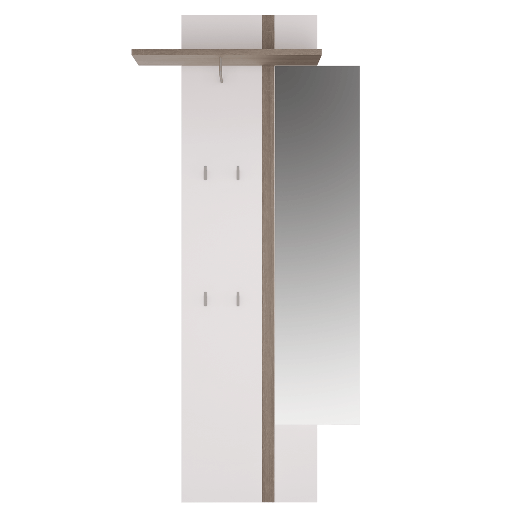 Věšákový panel se zrcadlem, bíla,, LYNATET TYP 115, TEMPO KONDELA