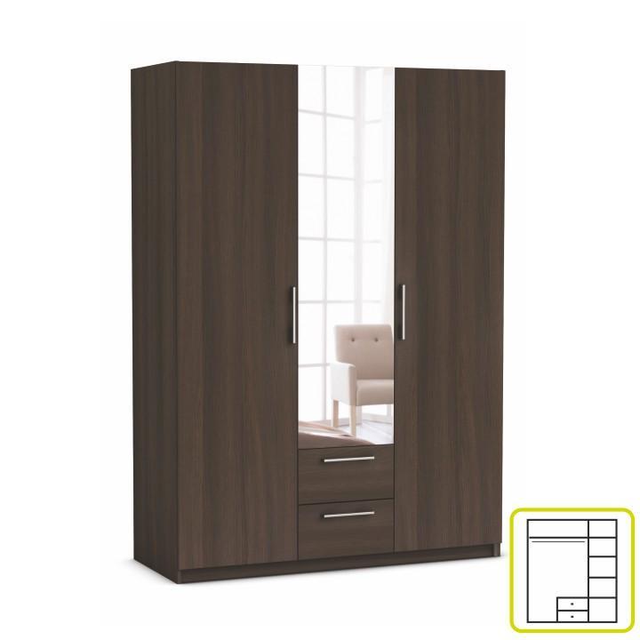 Výpredaj TEMPO KONDELA Skriňa, 3 - dverová s 2 zásuvkami, so zrkadlom, dub vulcano, JUPITOR 384227