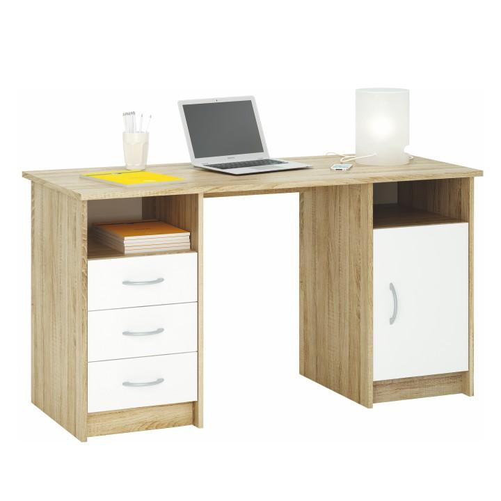 Výpredaj TEMPO KONDELA PC stôl, dub sonoma/biela, 3 zásuvky/skrinka, KARLO