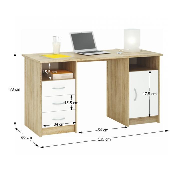TEMPO KONDELA PC stôl, dub sonoma/biela, 3 zásuvky/skrinka, KARLO - Tempo nábytek