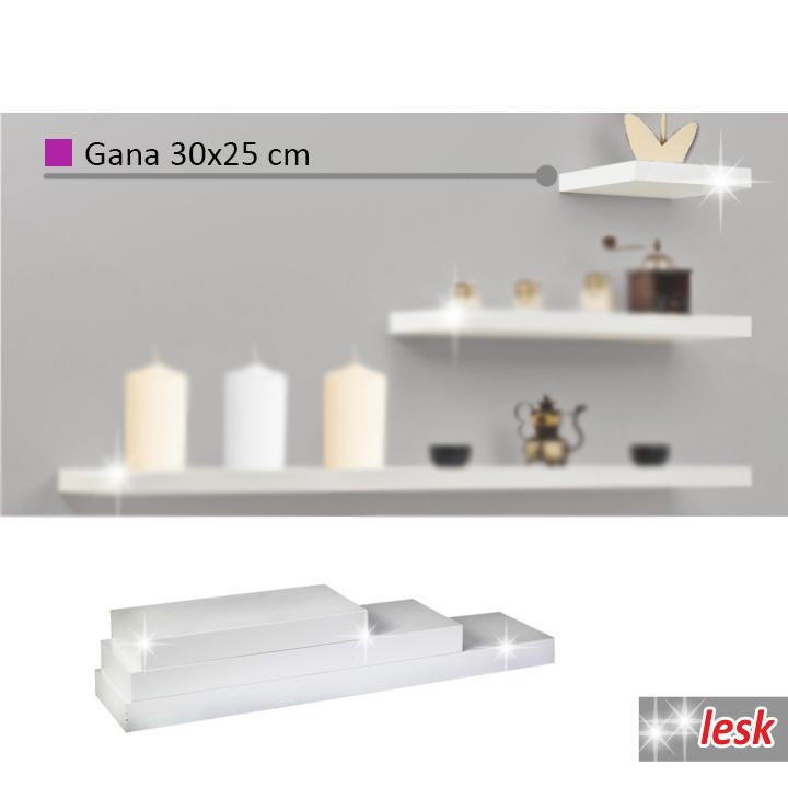 Polc, fehér/fényes, 30x25, GANA