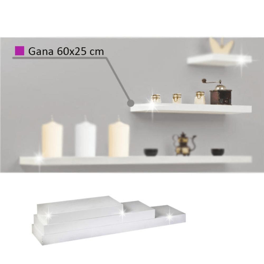 Polc, fehér fényes, 60x25, GANA FY 11044-3