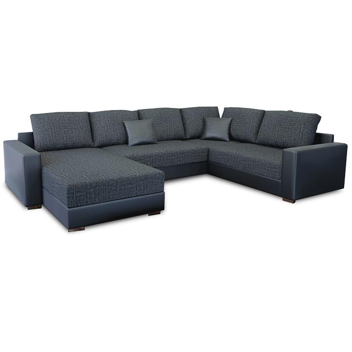Rohová sedacia súprava, ekokoža čierna/látka sivočierna, STILO