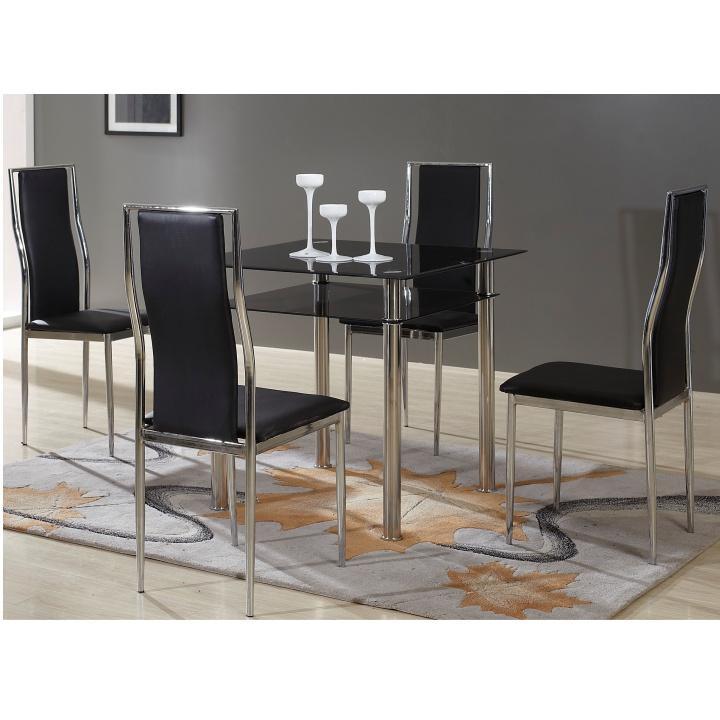 Étkezőasztal, fekete edzett üveg + krómozott acél, NANETA