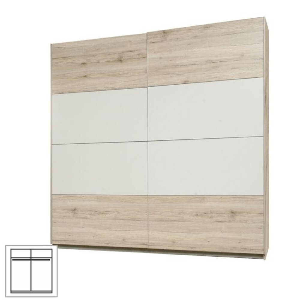 Věšáková skříň s posuvnými dveřmi, dub pískový / bílá, VALERIA