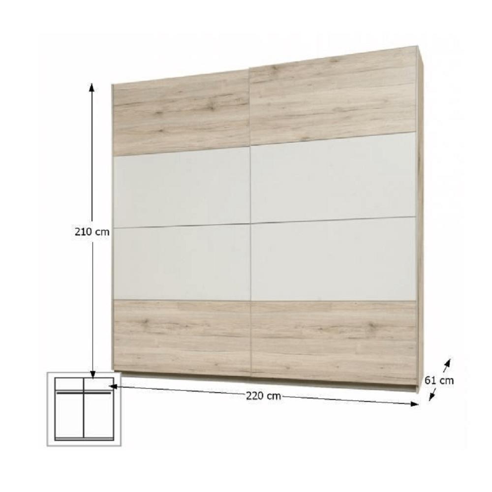 Věšáková skříň s posuvnými dveřmi, dub pískový / bílá, VALERIA, TEMPO KONDELA