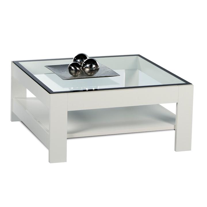 Konferenčný stolík, biela extra vysoký lesk HG/sklo, ATTAC
