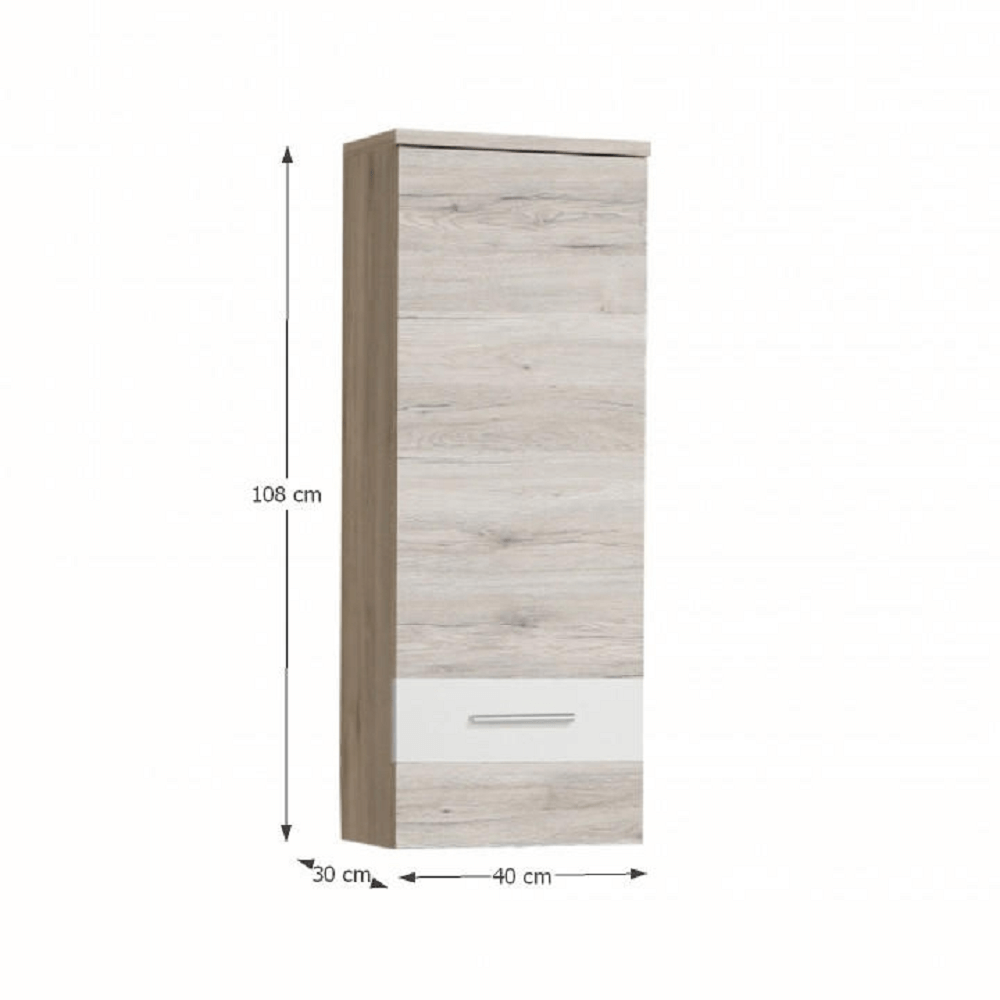 Závěsná skříňka, dub písková / bílá, VALERIA, TEMPO KONDELA