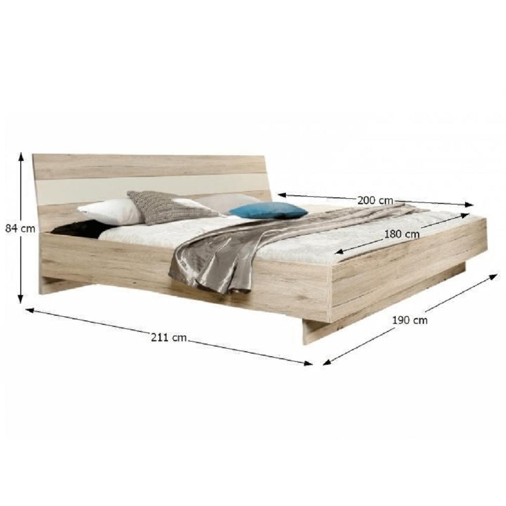 Postel 180x200, dub písková / bílá, VALERIA