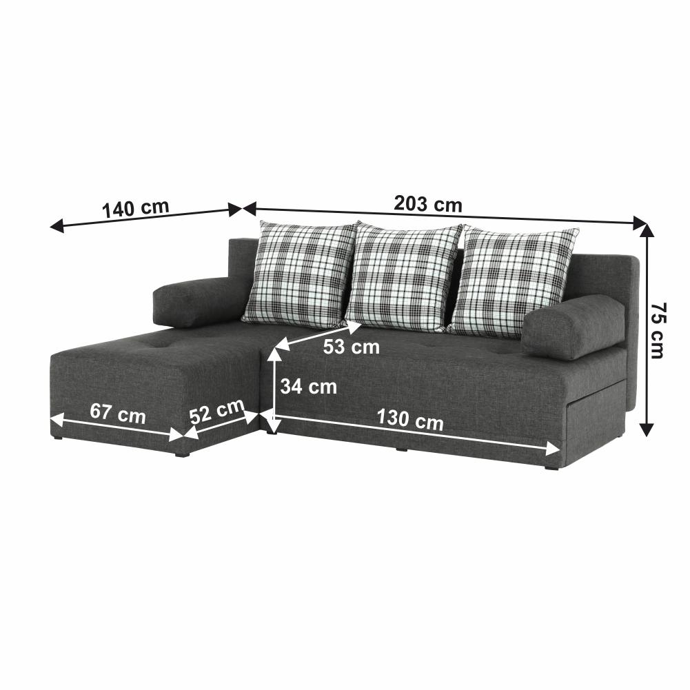 Rohová sedací souprava, šedý melír / vzor, levá, MEXX