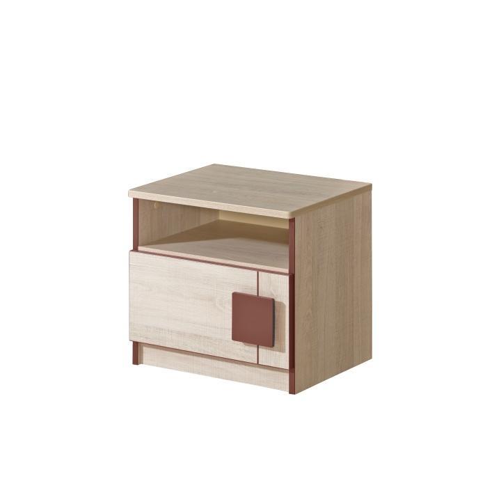 TEMPO KONDELA Nočný stolík, dub santana/hnedá, UMI G12 - Tempo nábytek