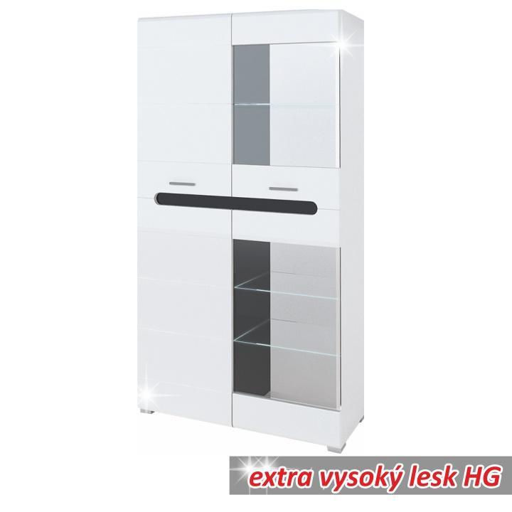 Vitrína so sklom a LED osvetlením, biely/čierny vysoký lesk HG, OWAL SV