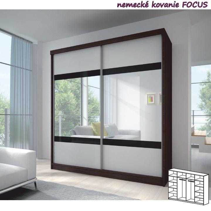 Dvojdverová skriňa, 233x218, s posuvnými dverami, kubánske drevo/biela, čierne sklo/zrkadlo, MULTI 2