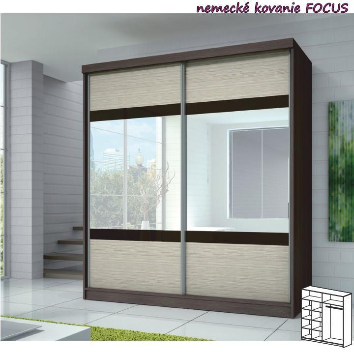 Dvojdverová skriňa, 203x218, s posuvnými dverami, dub cambridge/drevo kubánske/zrkadlo, MULTI 3
