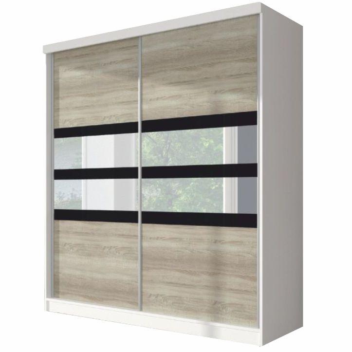 Skriňa s posuvnými dverami, dub sonoma/biela/čierne sklo, 203x218, MULTI 10