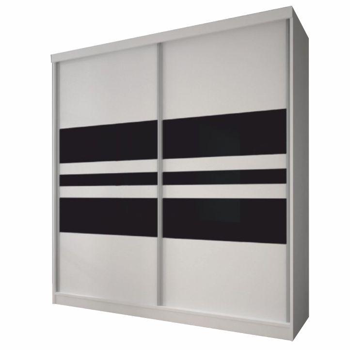 Skriňa s posuvnými dverami, biela/čierne sklo, 183x218, MULTI 11
