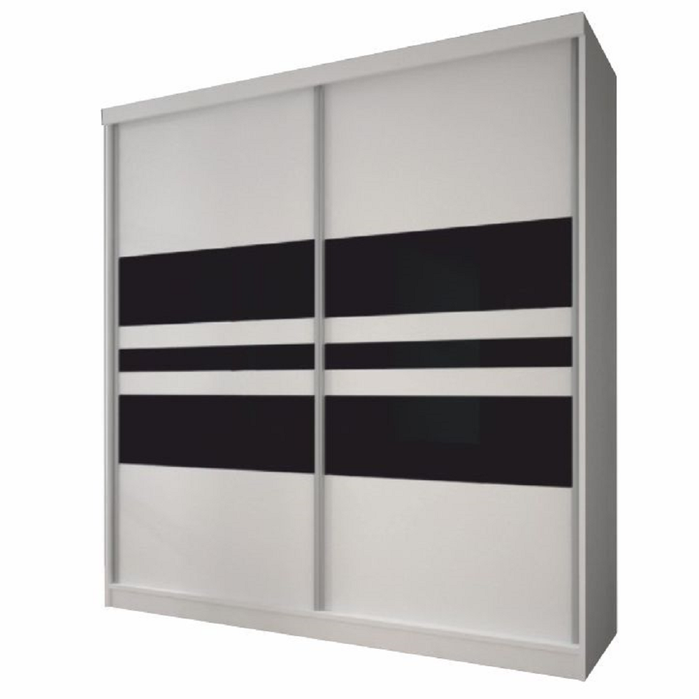Skriňa s posuvnými dverami, biela/čierne sklo, 233x218, MULTI 11