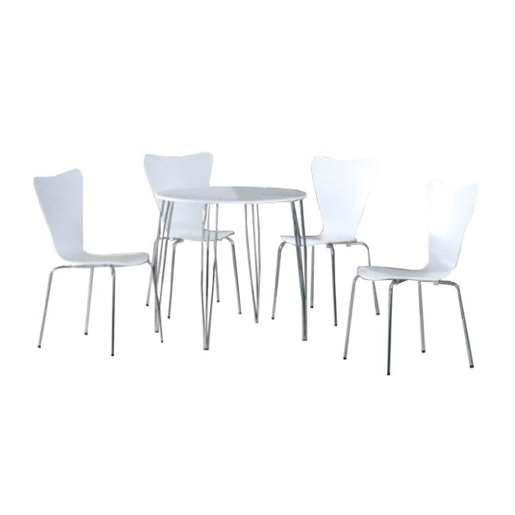 Jedálenský set, stôl + 4 stoličky, biela/chróm, NINA