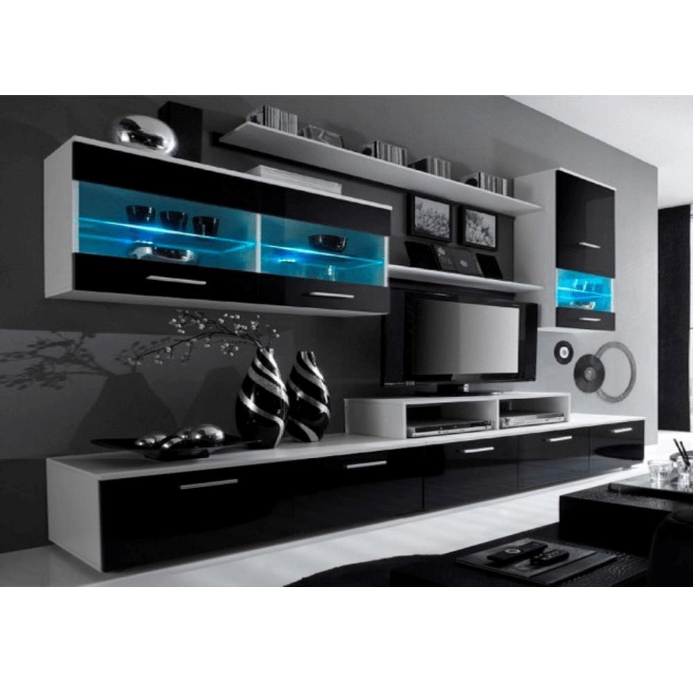 Obývací stěna, bílá / černý extra vysoký lesk HG, LEO, TEMPO KONDELA