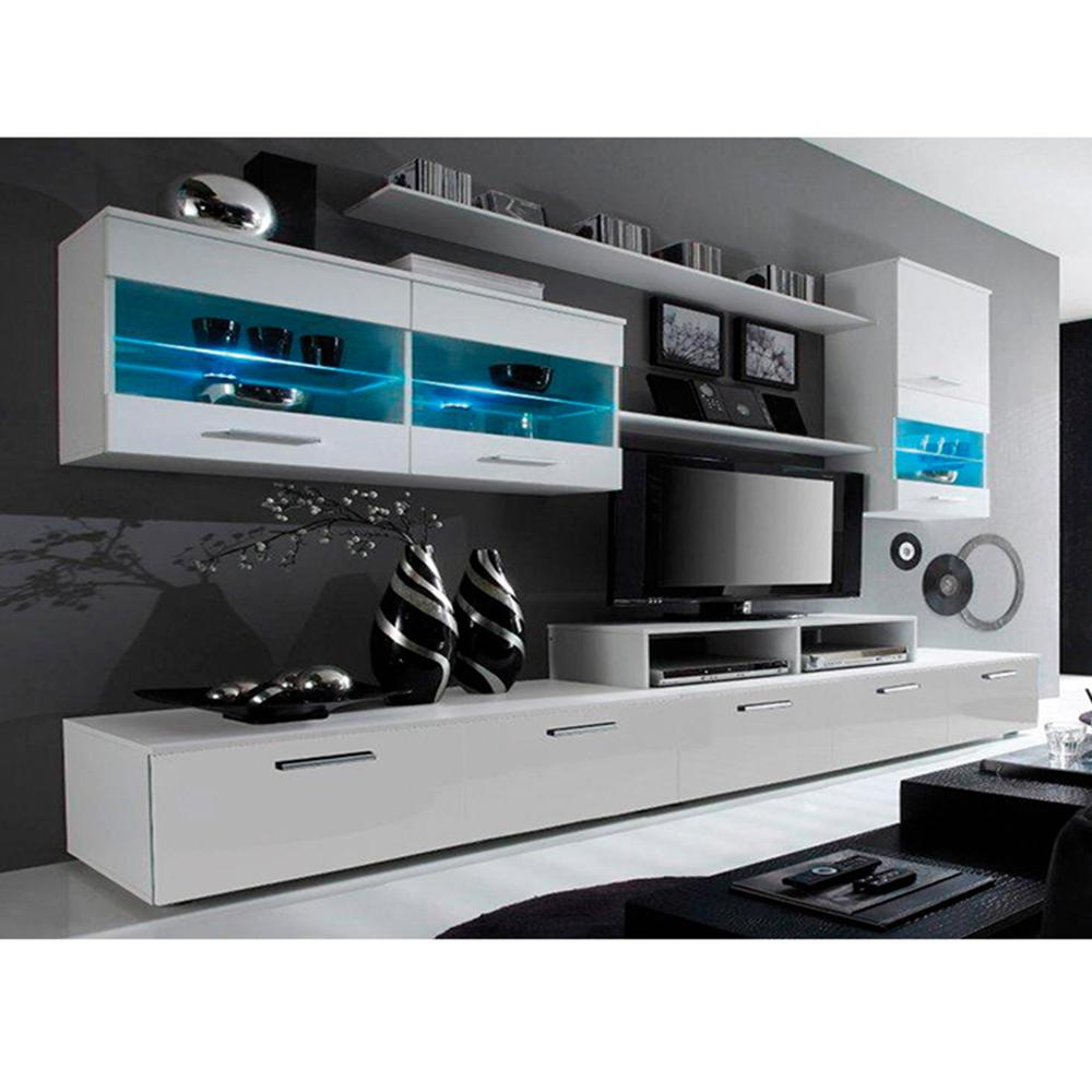 Obývací stěna, bílá / bílá extra vysoký lesk HG, LEO, TEMPO KONDELA