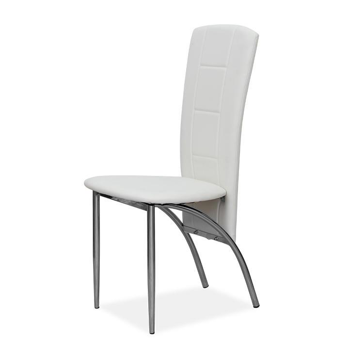 Étkező szék, króm + textilbőr fehér, FINA