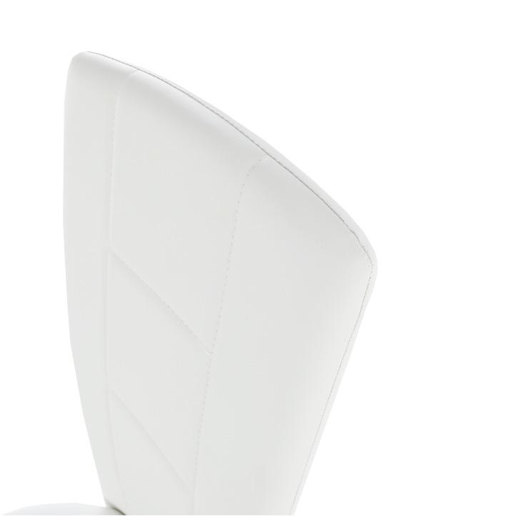 Stolička, ekokoža biela/chróm, FINA