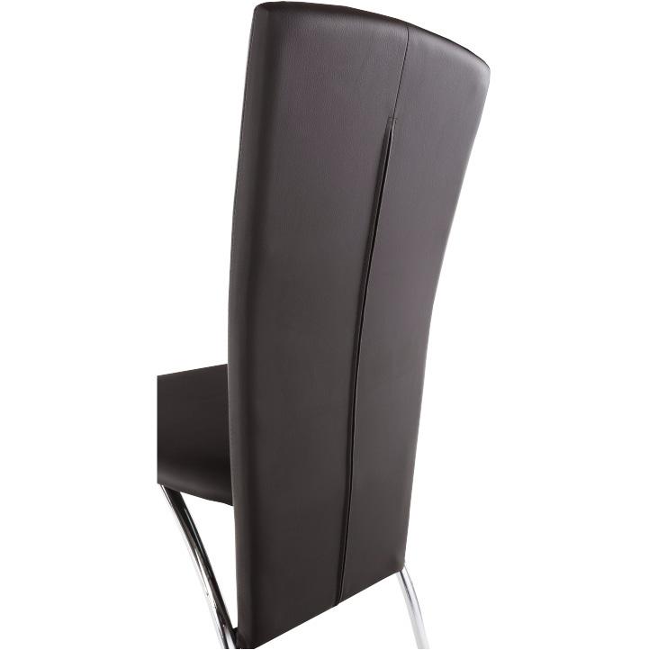 Stolička, tmavohnedá ekokoža/chróm, FINA