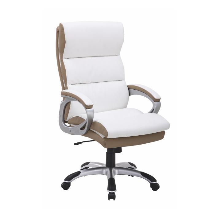 Kancelárske kreslo, ekokoža PU bielo-hndedá, KOLO CH137020