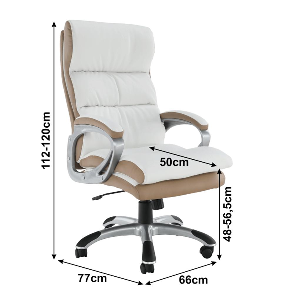 kancelářské křeslo, ekokůže PU bílo-hndedá, KOLO CH137020, TEMPO KONDELA