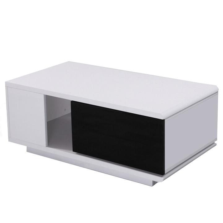 Konferenčný stolík, MDF, biela/čierna extra vysoký lesk, DEMBA LCT300, poškodený tovar