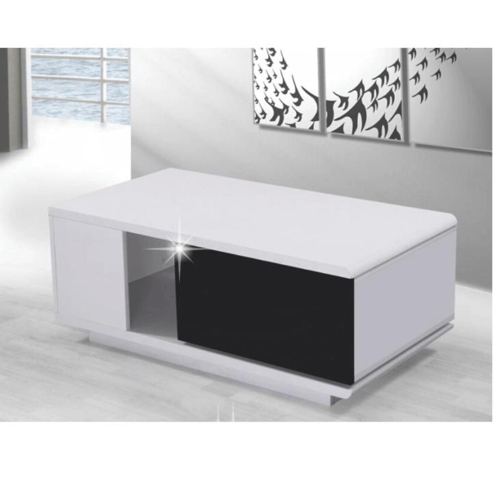 Konferenční stolek, bílá/černá HG, DEMBA