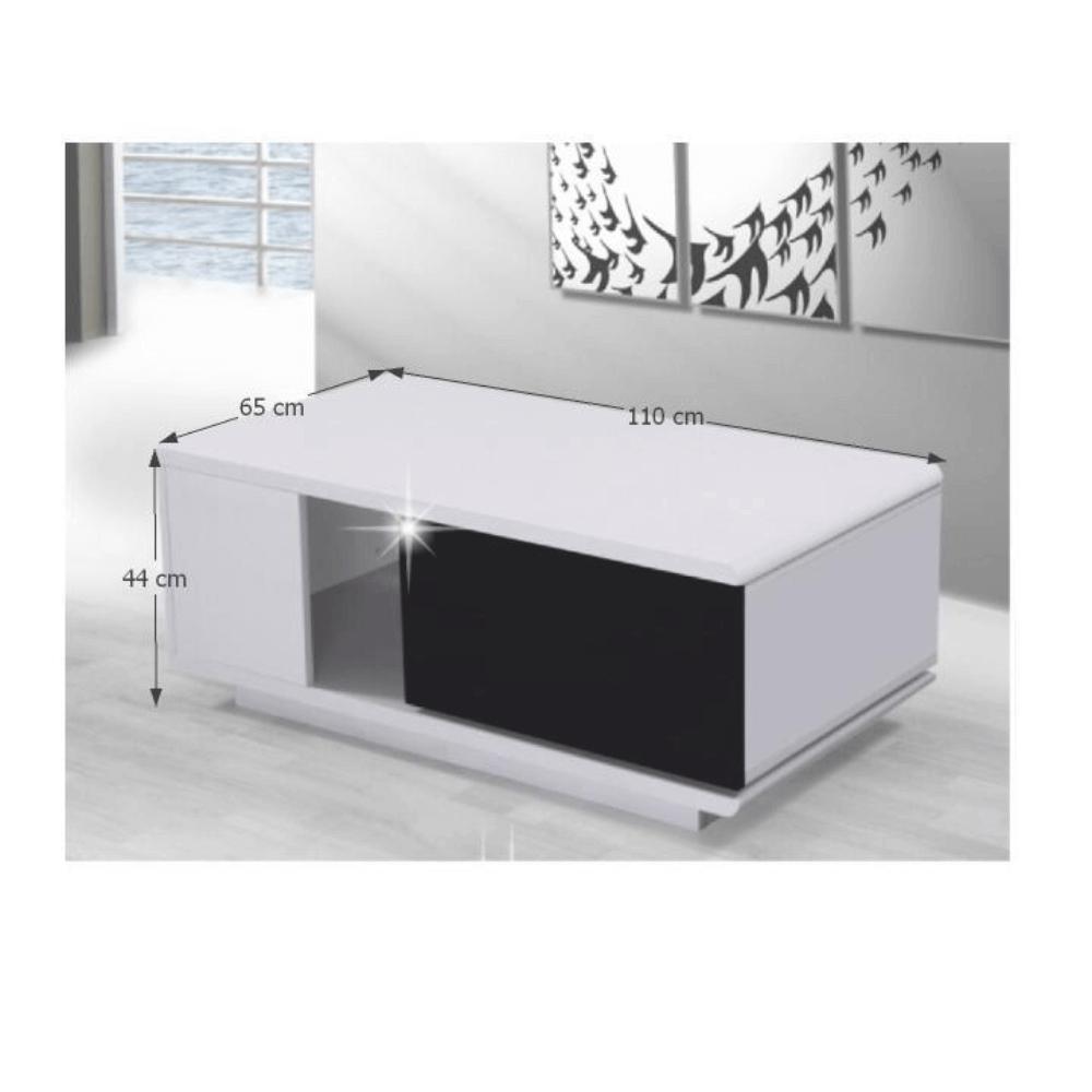 DEMBA - Konferenční stolek, bílá/černá HG, TEMPO KONDELA