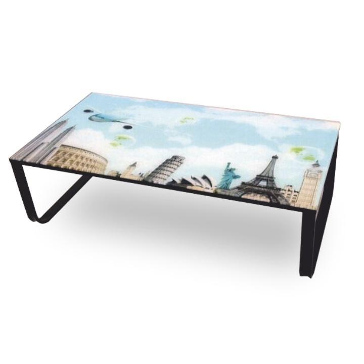 Konferenčný stolík, oceľ/sklo/motív, MIKRA LCT253