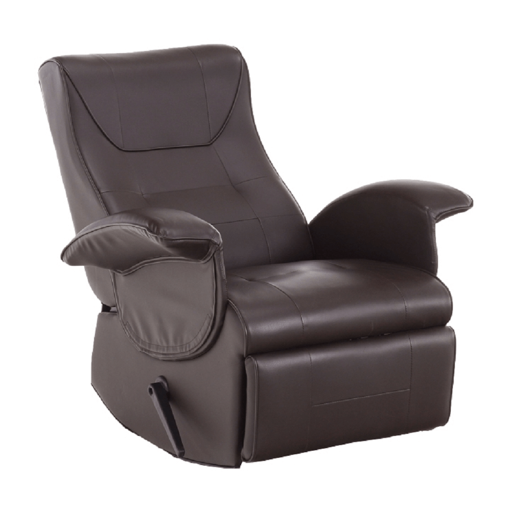Mechanikusan állítható pihenőfotel,sötétbarna textilbőr PU, ROMELO C3