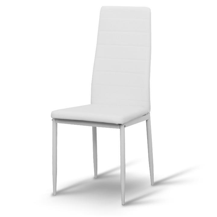 Stolička, ekokoža biela/kov biela, COLETA Nova