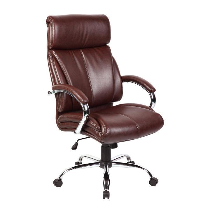Kancelárske kreslo, ekokoža tmavo hnedá, CABELA 49