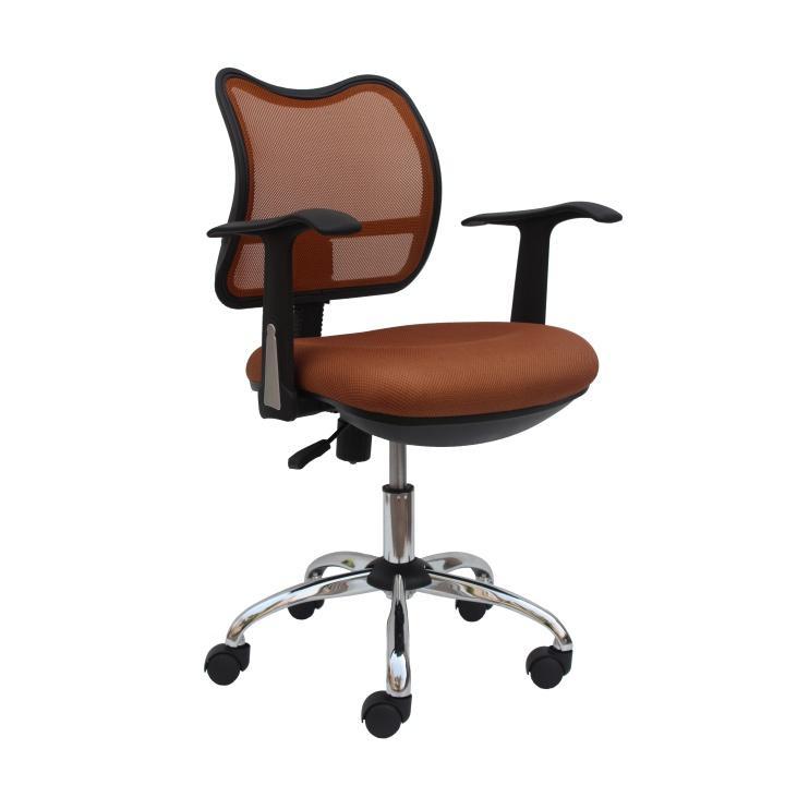 Irodai szék, kartámasszal: műanyag, háttámla ?króm háló, barna, EDISON 13