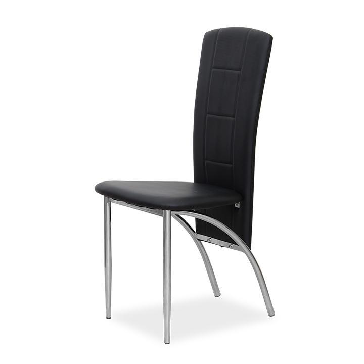Étkező szék, króm + textilbőr fekete, FINA