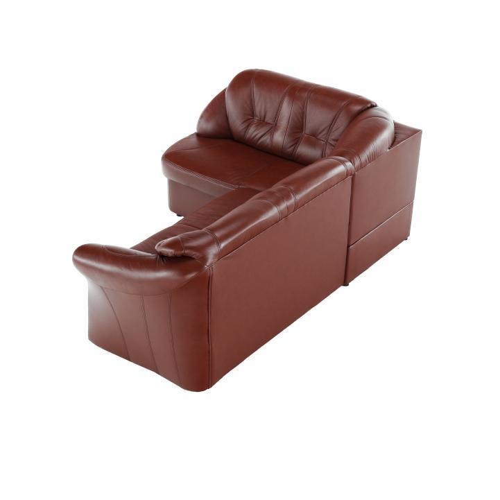 Ülőgarnitúra ágyfunkcióval és ágyneműtartóval, balos kivitelben, valódi bőr/textilbőr, barnáspiros, LAREDO