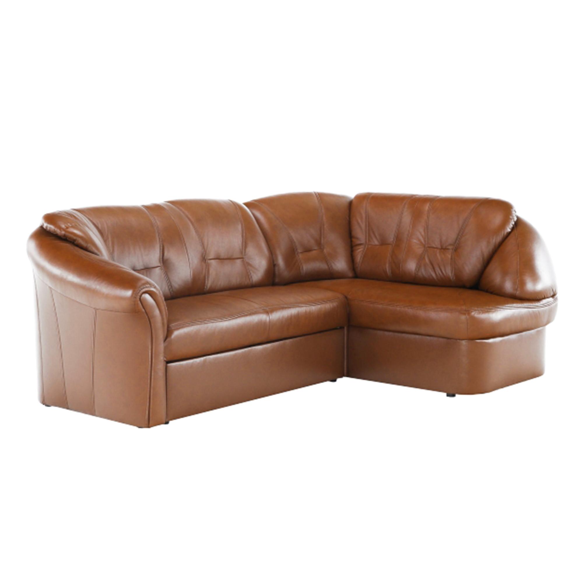 Ülőgarnitúra ágyfunkcióval és ágyneműtartóval, jobbos kivitelben, valódi bőr/textilbőr, barnáspiros, LAREDO