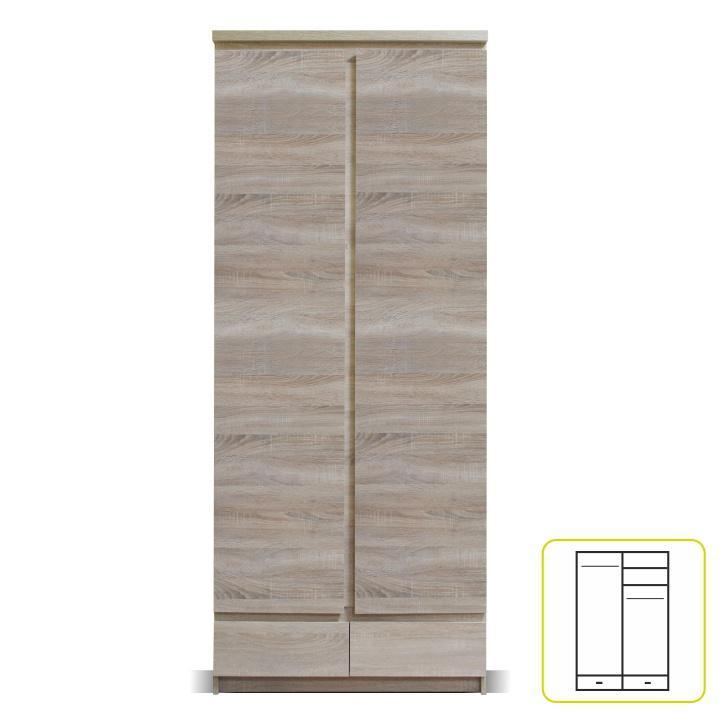 Akasztós szekrény, 01 típus, 2 fiókos, 2 ajtós, sonoma tölgyfa, PANAMA