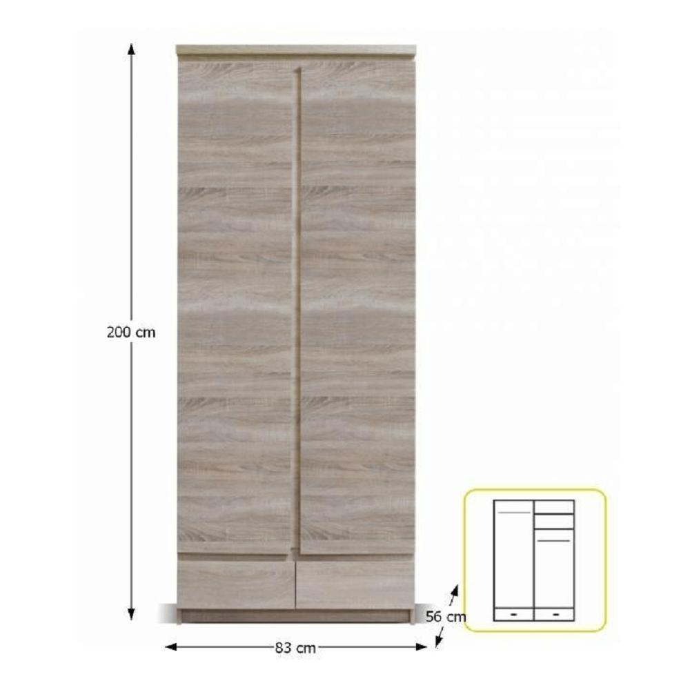 Akasztós szekrény 2D2S, tölgyfa sonoma, PANAMA 01TYP