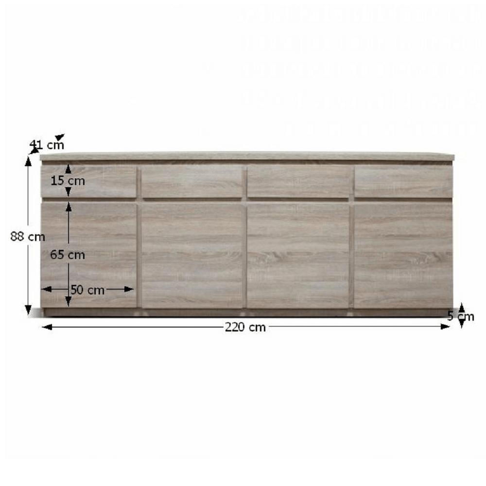 Komód, 11 ttípus, 4 fiókos, 4 ajtós, sonoma tölgyfa, PANAMA