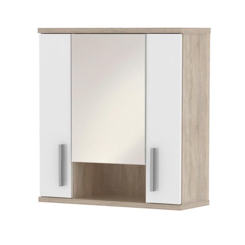 Függesztett szekrény tükörrel, fehér féligfény/ tölgyfa  sonoma, LESSY LI 01