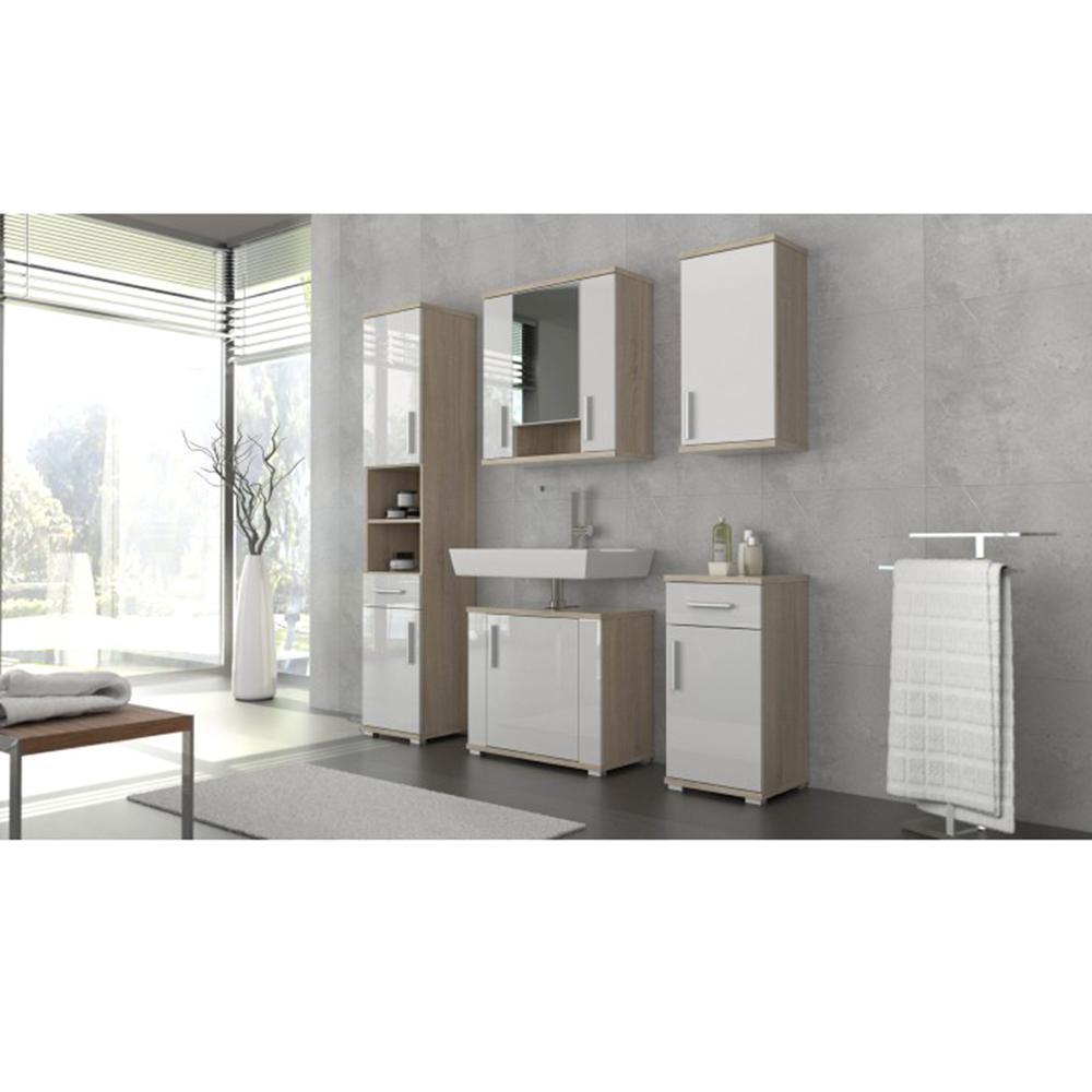 Spodná kúpeľňová skrinka, biela pololesk/dub sonoma, LESSY LI 03