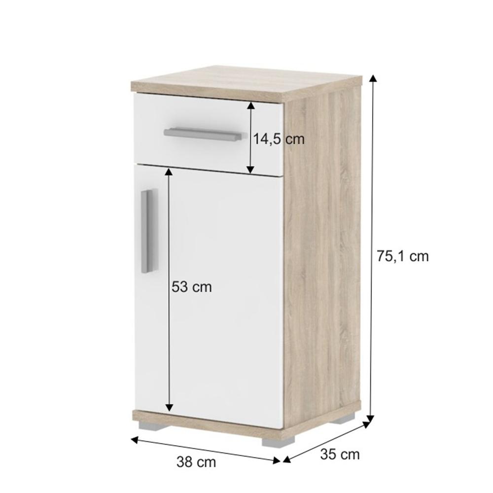 Dolní koupelnová skříňka, bílý pololesk / dub sonoma, Lessy LI 03