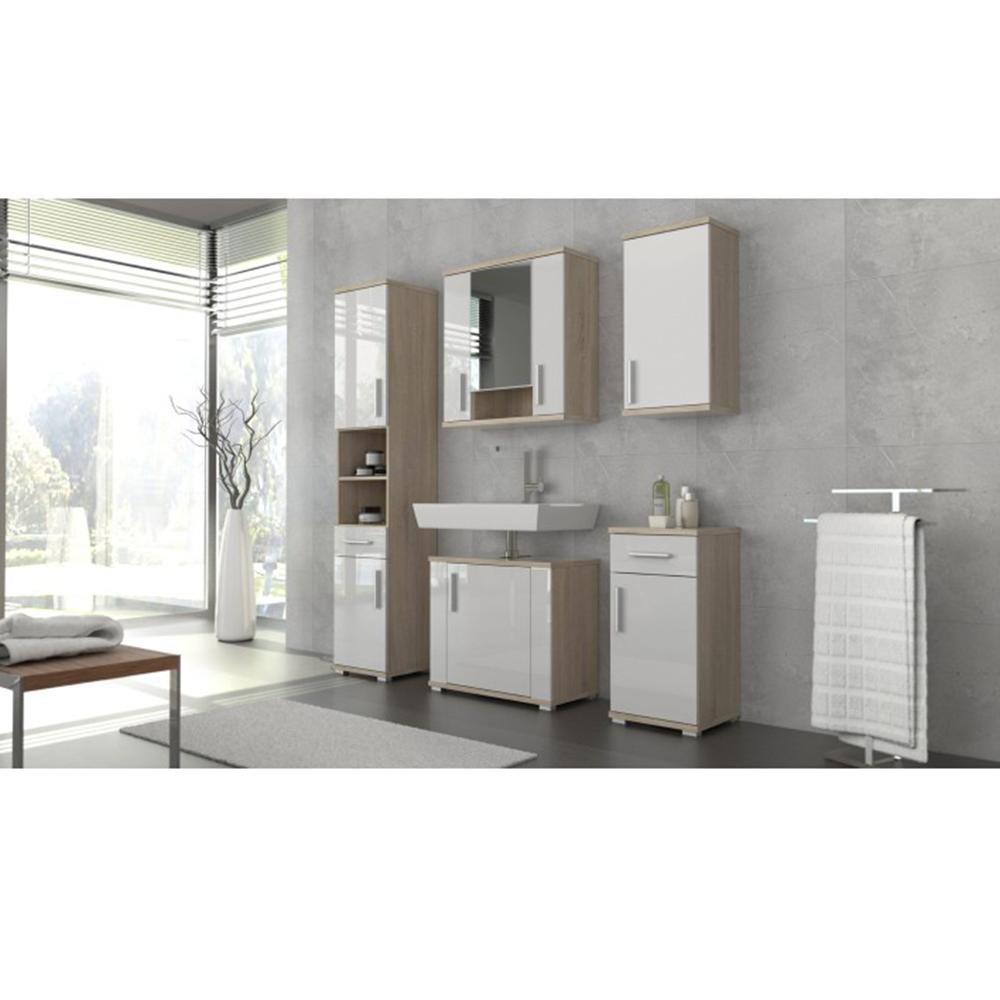 Horní koupelnová skříňka, bílá pololesk / dub sonoma, Lessy LI 04, TEMPO KONDELA